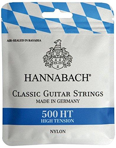 Hannabach 500HT Saiten für Klassikgitarre Satz High Tension, Diskantsaiten: Nylon, Bass: Nylonkern mit versilbertem Kupferdraht umsponnen