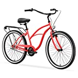 sixthreezero Around The Block Women's 3-Speed Beach Cruiser Bicycle, 26' Wheels, Coral Pink with Black Seat and Grips
