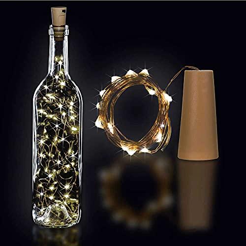 CLENERSA - Tapón Botella con Guirnalda LED 1'5m Largo, 15 Bombillas LED, Cable Color Cobre, Funciona con Pilas