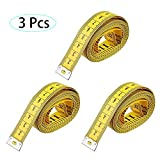 Multifunción Cinta Amarillo Artesanal Flexible de Coser Medidas de Cinta, 300cm 120 Pulgadas, 3 pzas Cinta de medición de cuerpo blando Regla de doble