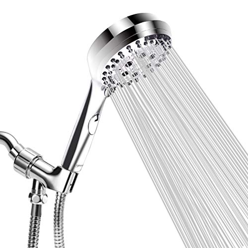 Luxsego High Pressure Shower Head, 5 Settings Hand Held Showerhead with Water Saving Mode, Shower Sprayer Kit against Low Pressure Water Supply, with 60'' Hose and Adjustable Bracket, 4'' Chrome Face