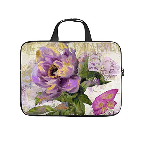 Neoprene Sleeve Laptop Handbag Case Cover Purple Peony with Gold Patchword Portable MacBook Laptop/Ultrabooks Case Bag Cover 13-13.3 Inch