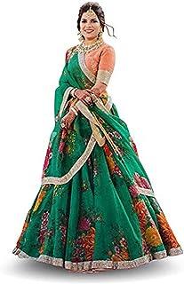 فستان ليهينغا تشولي شبه مخيط من الأورجانزا الأخضر للسيدات