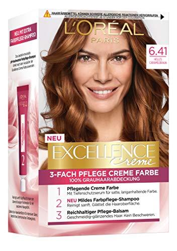 L'Oréal Paris Excellence Crème 6.41 Helles Caramelbraun 3er Pack(3 x 268 g)