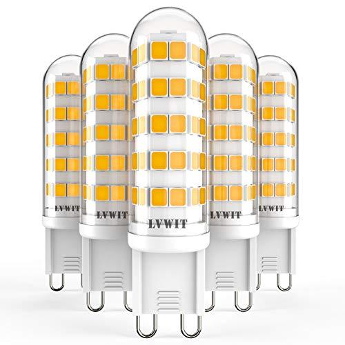 LVWIT Lampadine LED G9 - 4.5W Equivalenti a 50W, 500 lumen, 3000K Colore Bianco Caldo, Nessun Lampeggio. Non Dimmerabile - Confezione da 5 Pezzi.