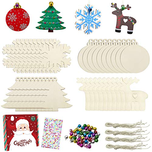 40 Pcs Wooden Ornaments Unfinished Christmas DIY Ornaments Craft Kit, Christmas Wood Ornaments with Bells, Wax Rope and Rhinestone Stickers for Children Arts and Crafts Supplies