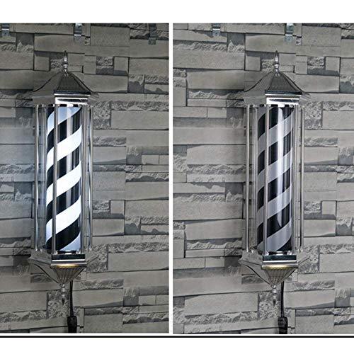 Barber Pole LED Coiffure Salon Boutique Style Classique Roating Noir White Stripes Mural Lampe Étanche En Alliage D'aluminium Économiser De L'énergie - 85Cm