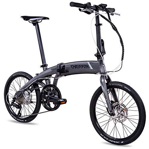 CHRISSON 20 Zoll E-Bike City Klapprad EF3 grau - E-Faltrad mit Bafang Nabenmotor 250W, 36V und 45 Nm, Pedelec Faltrad für Damen und Herren, praktisches Elektro Klappfahrrad, perfekt für die Stadt