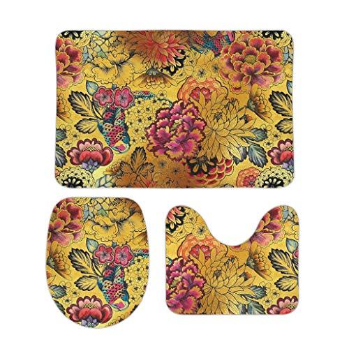 HXshqian Chrysanthemum inktvis inkt Azië badkamer tapijt 3 stuk absorberende badkamer tapijten Set wc vloer mat deksel dekt bad mat Contour Mat