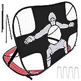 Yodeace Porterias de Futbol para Niños 120x80x80cm, 2 En 1 Red de Futbol de Tela Oxford Plegable Fácil de Montar para Patio Trasero Césped Juegos...