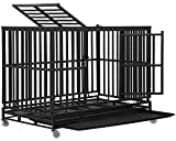 Dog Crate Dog Cage Dog Kennel for Large Medium Dogs Heavy Duty 48 Inches Pet Playpen for Training Indoor Outdoor with Plastic Tray Double Doors & Locks Design