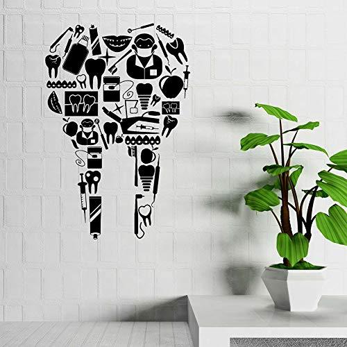 HFDHFH Calcomanías de Pared de clínica Dental Dientes Dentista médico Hospital Farmacia decoración de Interiores Pegatinas de Vinilo para Puertas y Ventanas Mural Creativo