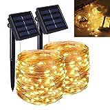 Guirnaldas Luces Exterior Solar, Luces Led Solares para Exteriores, 2 Pieces 22M 200 LED Guirnaldas Luces, 8 Modos,...