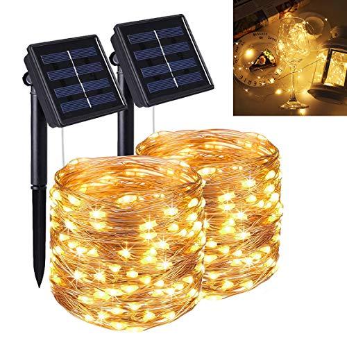 Guirnalda Luces Exterior Solar, 22m 200 LED Cadena de Luces con 8 Modos, Luces Navidad Exterior, Guirnaldas de Luz Impermeable al Aire Libre, Decoración para Navidad Jardin Festival[2 Pack]