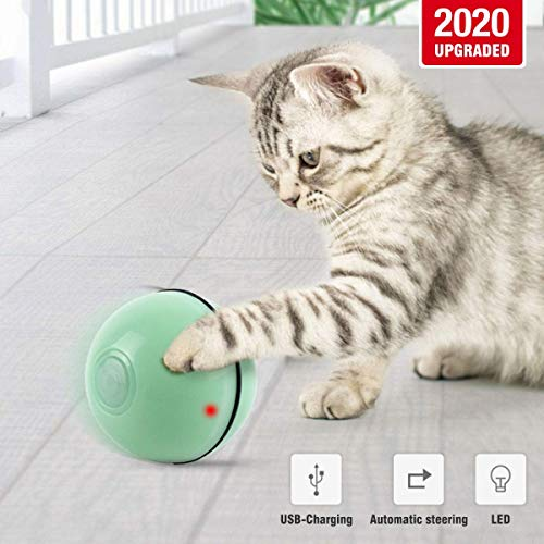 Zhaoyun Cat Kugel automatische LED-Katze-Kugel mit USB Charge Interactive Katzenspielzeug for Kitten Puppy-Weiß (Color : Green)