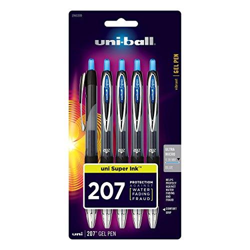 uni-ball 207 bolígrafos retráctiles de gel, punta ultra micro (0,38 mm), azul, 5 unidades