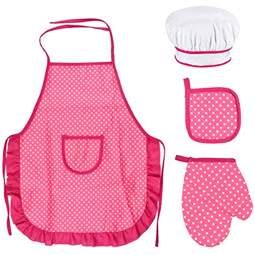 Set Grembiule Bambini e Cappello Cuoco, Bambini Grembiule Cucina con Bianco Cappello Cuoco Bambini, Grembiule da Cuoco, Guanti Forno Bambini, Imbottitura Resistente Calore per Dai 3 ai 12 Anni (Rosa)