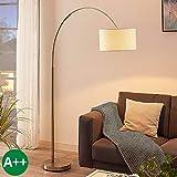 Lampadaire 'Railyn' (Moderne) en Beige en Textile e. a. pour Salon & Salle à manger (1 lampe,à E27, A++) de Lampenwelt | Lampadaire arqué, lampadaire arc, lampe sur pied, lampe de salon sur pied