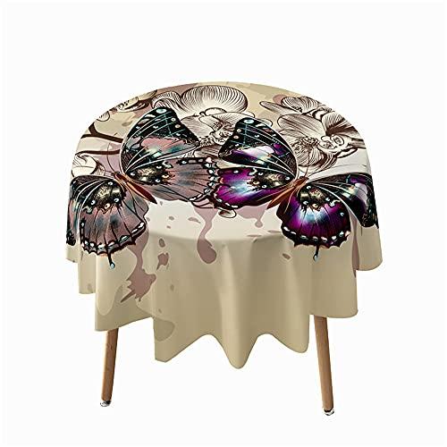 Highdi Impermeable Mantel de Redondo, 3D Mariposa Antimanchas Lavable Manteles Moderno Decoración para Salón, Cocina, Comedor, Mesa, Interior y Exterior (Retro,Diámetro 100cm)