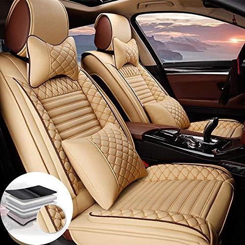 Juego de 2 Fundas de Cuero para Asientos Delanteros de Coche de Lujo para Peugeot 206 206CC 207 207CC 307 307SW 308 308CC 308GT, Compatible con airbag (Beige)