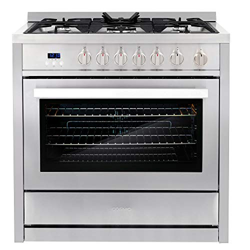 Cosmo COS-965AGC 36 in. Gas Range with 5 Burner Cooktop, 3.8 cu. ft. Capacity Rapid Convection Oven...