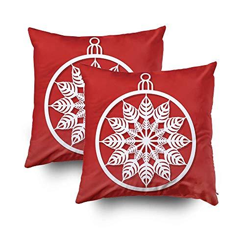Vector Kerstbal met een sneeuwvlok gesneden uit papier Afbeelding geschikt voor laser snijden plotter gesneden Kussenhoezen 45x45,Vierkante Kussenhoezen Pack van 2,Gooi Kussensloop Cover Decoratief,Met Rits,voor Sofa