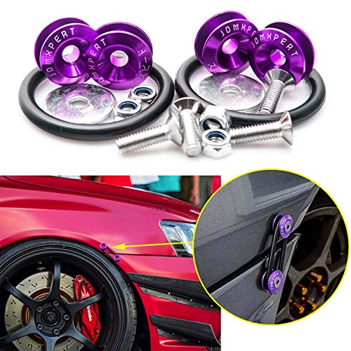 Xotic Tech JDM Quick Release Fasteners For Car Bumpers Trunk Fender Hatch Lids (Purple)