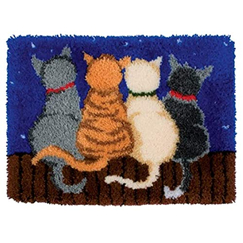 MeetBSelf Latch Hook Rug Kits Crocheting Carpet Rug Cats Acrylic Yarn Pre-Printed Canvas Cushion Mat Crochet Tapestry Sofa Decor