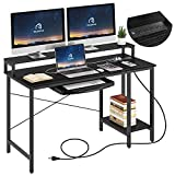 Rolanstar Computer Desk with Power Outlet and Keyboard Tray Monitor Stand 55', Home Office Writing Desk, Rustic Style Workstation Table with Storage Shelves,Stable Metal Frame, Black