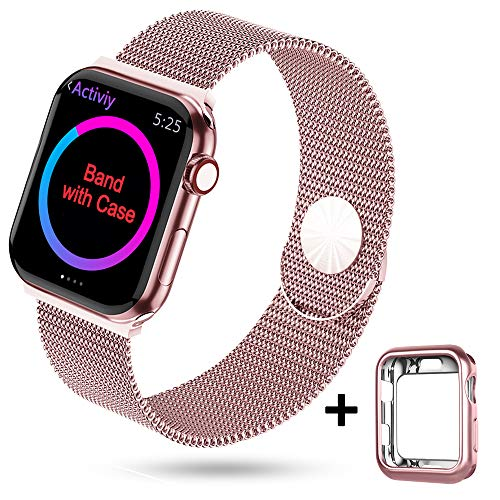 HONEJEEN Compatible with Apple Watch Band 38mm 40mm 42mm 44mm,Stainless Steel Mesh Loop Replacement Parts for iWatch Band Series 4 3 2 1