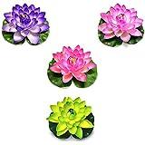 水上ロータス,人工フローティングフォームロータス 17cm ォームウォーターユリ蓮の花,ホームガーデンポンド アクアリウムウェディング装飾