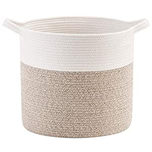 Mintwood Design 15 x 14 Inches Decorative Woven Cotton Rope Storage Basket, Stuffed Toy Basket Bin, Laundry Basket Hamper, Nursery Basket, Blanket Basket, Dog Toy Basket, Baby Shower Gift Basket