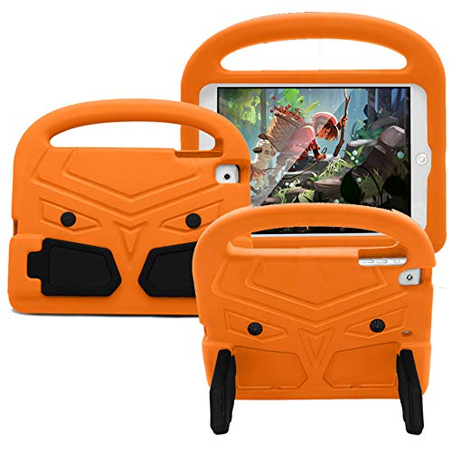 CLARKCAS Kids Case for iPad Mini 5 2019 (5th Generation),EVA Shockproof Durable Bumper Handle Stand Rugged Lightweight Protection Cases Cover for iPad Mini 7.9 inch/Mini 4nd Generation Tablet (Orange)