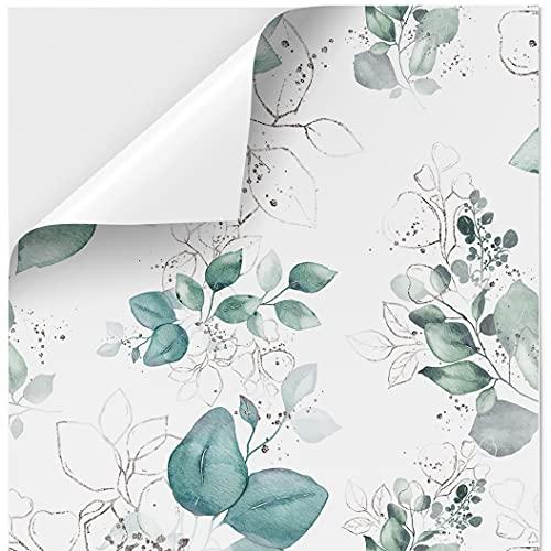 Vinilo Adhesivo para Muebles y Pared, 45 x 200 cm / 45 x 500 cm, Vinilo Impermeable y Resistente, Hojas de Acuarela con Fondo Blanco, VNL-008