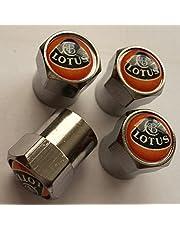 LOTUS set van vier zilver chroom metalen autoventiel band stofkap Elise Exige Evora