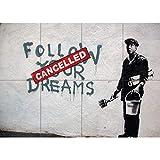 Doppelganger33 LTD Banksy Follow Your Dreams Arte de la Pared Multi Panel de Carteles 47x33 Pulgadas