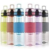 UZSPACE 700ml Fruit Infuser Water Bottle BPA Free 25oz Leak-Proof Flip Top Lid