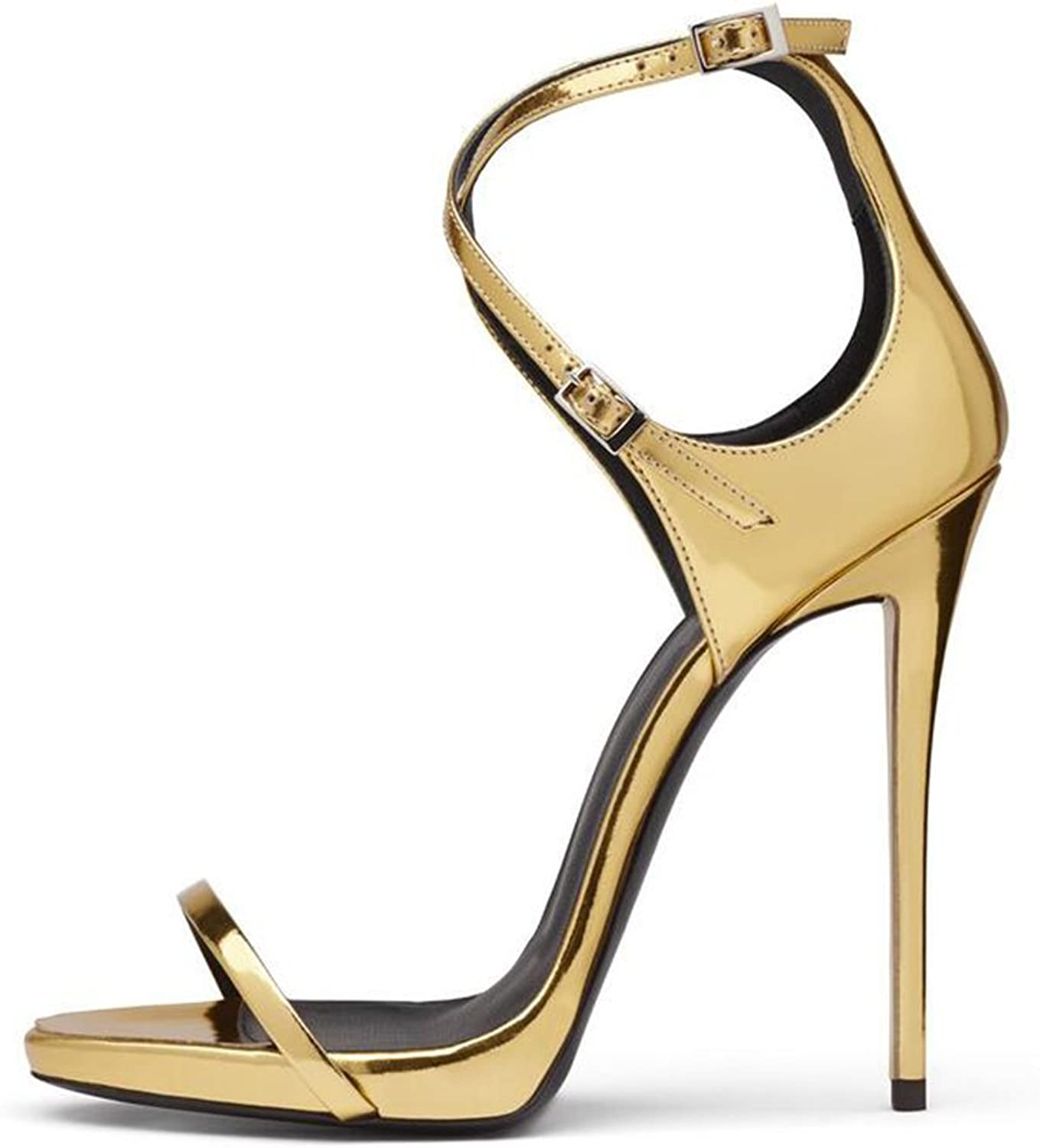 Womens's shoes Europe And The United States Ladies golden Patent Leather Bag With Cross Buckle High Heel Sandals Sandals
