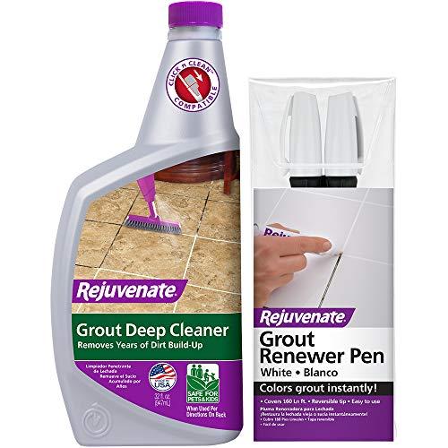 Rejuvenate Grout Deep Cleaner - Cleaning Formula Instantly Removes Years of Dirt Build-Up to Restore Grout to The Original Color (32oz) & White Grout Restorer Marker Pens