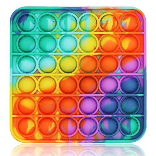 Push Pop Fidget It Toy, Push Pop Bubble Sensory Fidget Toy Silicone Pop Bubble Sensory Silicone Toy Simple Dimple, Autism Special Needs Stress Reliever(Tie Dye Multi Color-Square)