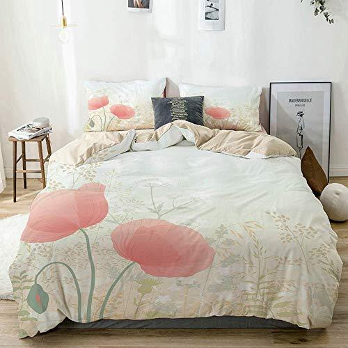Qoqon Duvet Cover Set Beige,Pastel Wild Poppy Blooms Rural Print,Decorative 3 Piece Bedding Set with 2 Pillow Shams