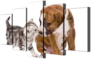 Modern Canvas Home Decor Painting Wall Art Animal Pictures 5 Pieces Cute Dog Kiss Cat Poster Living Room HD Printed Photo on Canvas Framed