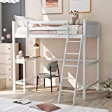 P PURLOVE Solid Wood Twin Size loft Bed with Desk Under Bed and Ladder for Kids Teens (White)