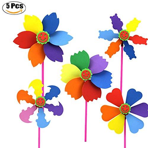 Justdolife Kinder Spielzeug Set DIY Regenbogen Farbe Garten Windrad Wind Spinner für Garten Rasen Party Decor