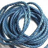 eJoyce 4-Yards 4mm PU Faux Leather Braid Cord Trim, SP-2756 (Steel Blue)