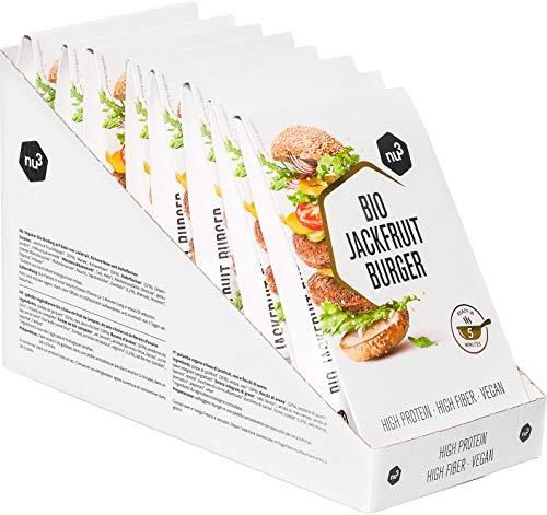 nu3 Bio Jackfruit Burger 8 Packungen je 2 x 90g - kräftig-würziger Burger Patty aus Jackfrucht - in 5 Minuten fertig angebraten - Vegan & Laktosefrei mit insgesamt 15g Protein - aus biologischem Anbau