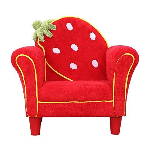 MOMIN Silla del Bolso de Haba de Alta Volver Silla de Lectura Mini Sofá Sofá niños Sillón Individual pequeño sofá Linda Fresa pequeño sofá Uso Interior y Exterior (Color : Red, Size : 58x44x52cm)