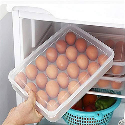 HJKGSVdv - Caja de almacenamiento para 24 hueveras, frigorífico, bandeja para huevos, plástico, Transparent