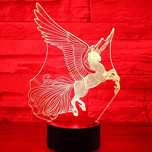 Eld Luz de Noche LED 3D para Correr en el Cielo Unicornio con 7 Colores de luz Decoración del hogar Lámpara de Caballo Increíble visualización Óptica Regalo del día de los niños