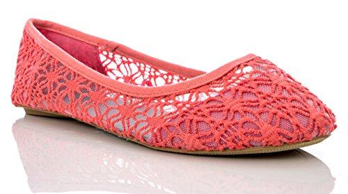 Charles Albert Damen Ballettschuhe, atmungsaktiv, gehäkelt, Spitze, Rot (korallenrot), 42 EU